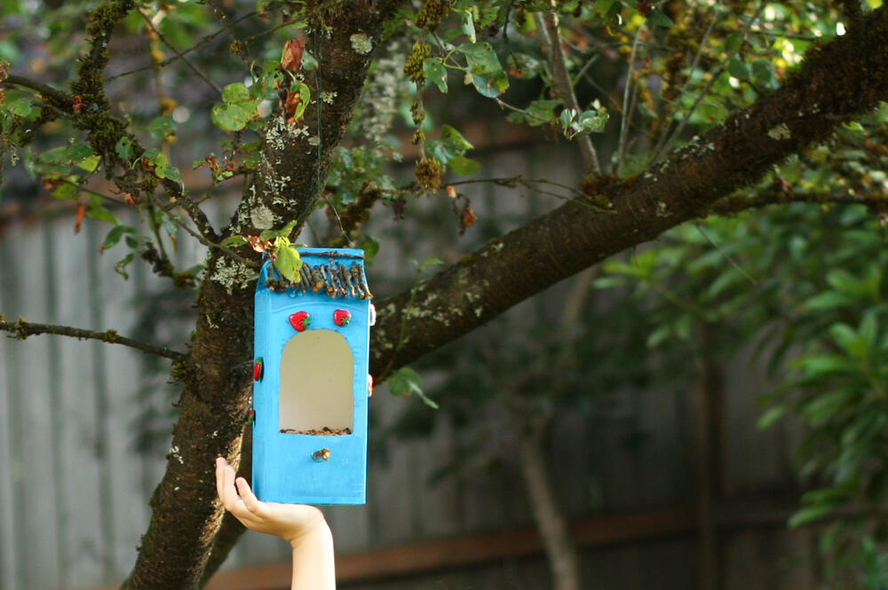 Make a bird feeder out of recycled materials audubon for Diy from recycled materials